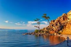 Ακρωτήριο Burhan στο νησί Olkhon, λίμνη Baikal Στοκ Φωτογραφία