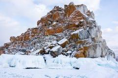 Ακρωτήριο Burkhan στο νησί Olkhon Baikal στη λίμνη, Σιβηρία, Ρωσία στοκ εικόνες
