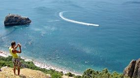 Ακρωτήριο Fiolent στην ακτή Μαύρης Θάλασσας στοκ εικόνα με δικαίωμα ελεύθερης χρήσης