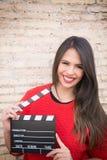 Ακρόαση ηθοποιών υπαίθρια με το clapperboard στοκ εικόνα με δικαίωμα ελεύθερης χρήσης