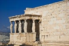Ακρόπολη Αθήνα Ελλάδα Erechteion καρυατίδων Στοκ εικόνα με δικαίωμα ελεύθερης χρήσης
