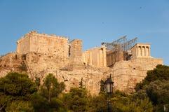 Ακρόπολη της άποψης της Αθήνας από το λόφο Areopagus. Στοκ Εικόνες
