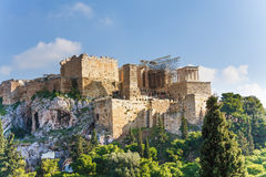 Ακρόπολη της Αθήνας, άποψη από Areopagus το καλοκαίρι Στοκ Εικόνα