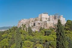 Ακρόπολη της Αθήνας από Areopagus Στοκ φωτογραφία με δικαίωμα ελεύθερης χρήσης