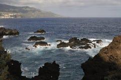 Ακτή λάβας στο Λα Palma, Κανάρια νησιά Στοκ Φωτογραφία
