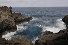 Ακτή λάβας στο Λα Palma, Κανάρια νησιά Στοκ Εικόνες