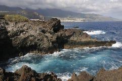 Ακτή λάβας στο Λα Palma, Κανάρια νησιά Στοκ Εικόνα