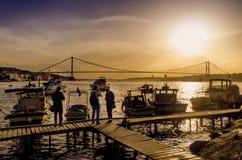 Ακτή ηλιοβασιλέματος της Ιστανμπούλ Bosphorus Στοκ Εικόνα