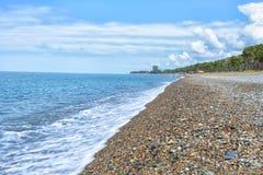 Ακτή Μαύρη Θάλασσα τοπίων παραλιών της Γεωργίας Batumi Στοκ Φωτογραφίες
