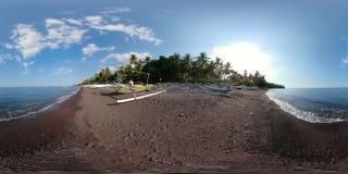 Ακτή με τα αλιευτικά σκάφη vr360 απόθεμα βίντεο