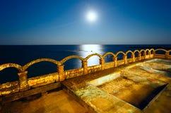 Ακτή νύχτας θάλασσας (Βουλγαρία) Στοκ Εικόνες