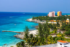 Ακτή σημείων θερέτρων στο νησί Καραϊβικής Στοκ φωτογραφίες με δικαίωμα ελεύθερης χρήσης