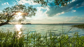 Ακτή της λίμνης βραδιού απόθεμα βίντεο