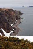 Ακτή της θάλασσας Okhotsk Άνοιξη, χερσόνησος Taigonos, περιοχή Magadan, της Σιβηρίας, Άπω Ανατολή, Στοκ εικόνα με δικαίωμα ελεύθερης χρήσης