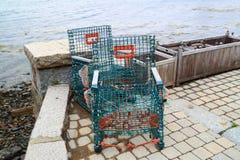 Ακτή του Μαίην παγίδων αστακών Στοκ Φωτογραφίες
