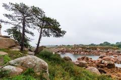 Ακτή του ρόδινου γρανίτη, Ploumanach, Βρετάνη, Γαλλία Στοκ Εικόνα