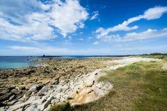 Ακτή Ile Grande στη Βρετάνη, Pleumeur Bodou, d'Armor CÃ'tes, Γαλλία Στοκ Εικόνες