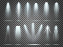 Ακτίνα του προβολέα, φω'τα φωτιστικών, επίκεντρο σκηνικού φωτισμού Προβολείς και επίκεντρα κομμάτων λεσχών νύχτας ελεύθερη απεικόνιση δικαιώματος