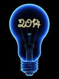 Ακτίνα X lightbulb με λαμπιρίζοντας 2014 ψηφία μέσα απεικόνιση αποθεμάτων