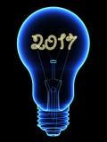Ακτίνα X lightbulb με το λαμπιρίζοντας εσωτερικό 2017 ψηφίων που απομονώνεται στο Μαύρο διανυσματική απεικόνιση