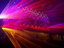 Ακτίνες λέιζερ στον παλαιό σταθμό παραγωγής ηλεκτρικού ρεύματος στο Λοντζ Στοκ εικόνες με δικαίωμα ελεύθερης χρήσης