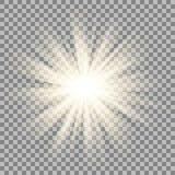 Ακτίνες ήλιων στο διαφανές υπόβαθρο Επίδραση φλογών αστεριών Στοκ Φωτογραφία