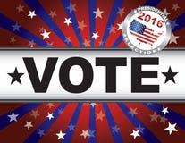 Ακτίνες και έμβλημα ήλιων αστεριών ψηφοφορίας 2016 κόκκινα άσπρα και μπλε ελεύθερη απεικόνιση δικαιώματος