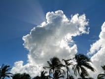 Ακτίνες και φοίνικες ήλιων μέσω των άσπρων σύννεφων Στοκ φωτογραφίες με δικαίωμα ελεύθερης χρήσης
