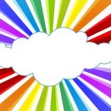 Ακτίνες ουράνιων τόξων και ευχετήρια κάρτα σύννεφων ελεύθερη απεικόνιση δικαιώματος