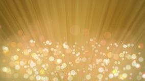 Ακτίνες του φωτός με το κομψό χρυσό υπόβαθρο Bokeh απόθεμα βίντεο