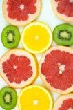 Ακτινίδιο, πορτοκάλι, γκρέιπφρουτ που τεμαχίζεται αραιά Στοκ Φωτογραφίες