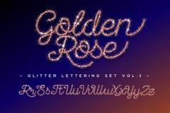Ακτινοβολήστε αυξήθηκε χρυσό χειρόγραφο αλφάβητο Στοκ Φωτογραφίες