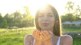 Ακτινοβολήστε γυναίκα Όμορφο φυσώντας κομφετί γυναικών σε σε αργή κίνηση υπαίθρια Το καυκάσιο ευτυχές έφηβη με το χρυσό ακτινοβολ απόθεμα βίντεο