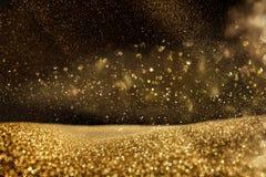 Ακτινοβολήστε εκλεκτής ποιότητας υπόβαθρο φω'των μαύρος χρυσός De που στρέφεται Στοκ Φωτογραφία