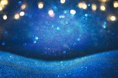 Ακτινοβολήστε εκλεκτής ποιότητας υπόβαθρο φω'των μπλε, χρυσός και ο Μαύρος De που στρέφεται Στοκ φωτογραφία με δικαίωμα ελεύθερης χρήσης