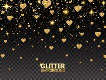 Ακτινοβολήστε κομφετί καρδιών Ο χρυσός ακτινοβολεί επίδραση μορίων για τη ευχετήρια κάρτα πολυτέλειας Σύσταση σπινθηρίσματος Φωτε διανυσματική απεικόνιση