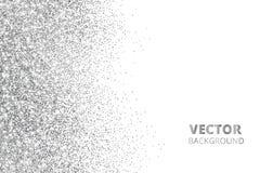 Ακτινοβολήστε κομφετί, χιόνι που πέφτει από την πλευρά Διανυσματική ασημένια σκόνη, έκρηξη που απομονώνεται στο λευκό Λαμπιρίζοντ Στοκ Φωτογραφίες