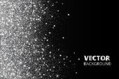 Ακτινοβολήστε κομφετί, χιόνι που πέφτει από την πλευρά Διανυσματική ασημένια σκόνη, έκρηξη στο μαύρο υπόβαθρο Το σπινθήρισμα ακτι Στοκ Εικόνα