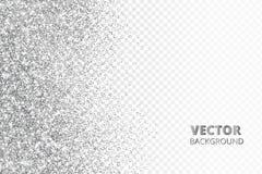 Ακτινοβολήστε κομφετί, χιόνι που πέφτει από την πλευρά Διανυσματική ασημένια σκόνη που απομονώνεται στο διαφανές υπόβαθρο Λαμπιρί Στοκ Εικόνες