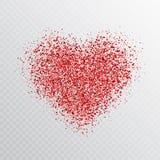 Ακτινοβολήστε κόκκινη καρδιά που απομονώνεται στο διαφανές υπόβαθρο Καμμένος έμβλημα καρδιών με τα μαγικά μόρια σκόνης αστεριών Φ απεικόνιση αποθεμάτων