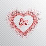 Ακτινοβολήστε κόκκινο πλαίσιο καρδιών με γραπτό το χέρι απόσπασμα σ' αγαπώ Καμμένος έμβλημα καρδιών με την εγγραφή σκόνης και χερ διανυσματική απεικόνιση