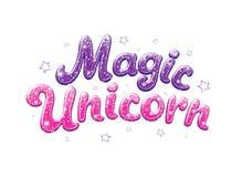 Ακτινοβολήστε μαγικός μονόκερος κειμένων Σύροντας για τα ενδύματα, τις μπλούζες, τα υφάσματα ή τη συσκευασία παιδιών Ιώδεις και ρ διανυσματική απεικόνιση
