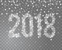 Ακτινοβολώντας νέο έτος του 2018 από snowflakes στο διαφανές υπόβαθρο Στοκ Εικόνες
