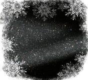 Ακτινοβολήστε εκλεκτής ποιότητας υπόβαθρο φω'των ελαφριοί ασημένιος και μαύρος Defocused με snowflakes την επικάλυψη απεικόνιση αποθεμάτων