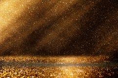 Ακτινοβολήστε εκλεκτής ποιότητας υπόβαθρο φω'των μελαχροινοί χρυσός και ο Μαύρος defocuse Στοκ φωτογραφία με δικαίωμα ελεύθερης χρήσης