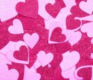Ακτινοβολήστε καυτές ρόδινες καρδιές. Υπόβαθρο. Ημέρα βαλεντίνων στοκ εικόνες με δικαίωμα ελεύθερης χρήσης