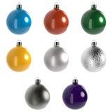 Ακτινοβολήστε σφαίρες Χριστουγέννων που απομονώνονται στο άσπρο υπόβαθρο τρισδιάστατη απεικόνιση ελεύθερη απεικόνιση δικαιώματος
