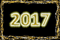 2017 ακτινοβολήστε χρυσό νέο έτος διανυσματική απεικόνιση