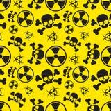 Ακτινοβολία και βιολογικά σημάδια κινδύνου κινδύνου στο κίτρινο, άνευ ραφής σχέδιο ελεύθερη απεικόνιση δικαιώματος