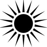 Ακτινοβολώντας οι κυκλικές γραμμές αφαιρούν το μονοχρωματικό σύμβολο στο λευκό (ασβέστιο απεικόνιση αποθεμάτων